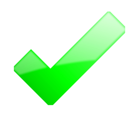 Photo showing green tick
